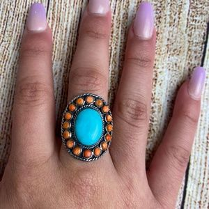 Sterling Silver ring adorned Turquoise and Coral